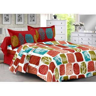 Valtellina Red  Natural Design 100 Cotton Double Bedsheet with 2 CONTRAST Pillow Cover-Best TC-175