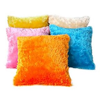 Velvety Soft Multi Color Fur Cushion Covers - 5 Pcs Set