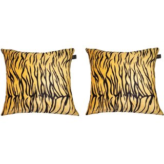 Lushomes Yellow Tiger Skin Printed Cushion Covers (Pack of 2)