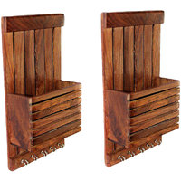 Dywin Brown Wooden Key Holder - Set Of 2
