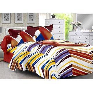 Valtellina Brown  Stripes Design Eco-Friendly Cotton Double Bedsheet with 2 CONTRAST Pillow Cover-Best TC-175