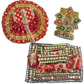 Beautifully Handmade Laddu Gopal Mukut, Poshak and Aasan Set