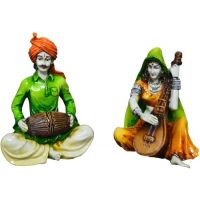 A Man  A Woman Playing Musical Instruments Showpiece - 15.24 Cm(polyresin, Multicolor