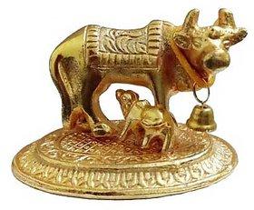 Brass Handmade Golden Kamdhenu Cow with Calf Spiritual