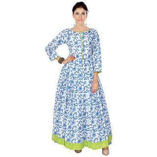 Womens Cotton White  Turquoise Color Anarkali Boat Neck Printed Kurta