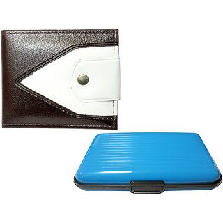 Apki Needs Dualcolored Brown Mens Wallet  Sky Blue Card holder