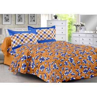 Valtellina Brown  Floral Design Color Fastness Cotton Double Bedsheet with 2 CONTRAST Pillow Cover-Best TC-175