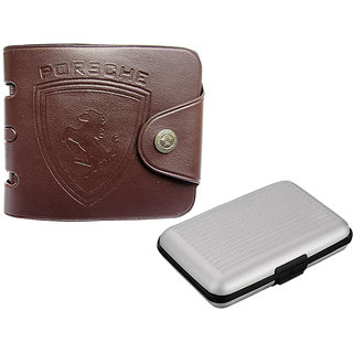Apki needs Designer Brown Mens Wallet and Silver Card holder