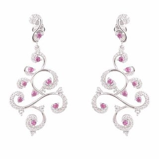 Tuan 925 stamped Sterling Silver Rhodium Plated Cz Diamond chandelier Earring for Women (TER-1995)