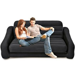 Intex Velvet Inflatable Air Sofa Extra Large Pullout Sofa Cum Bed With  Electric Pum