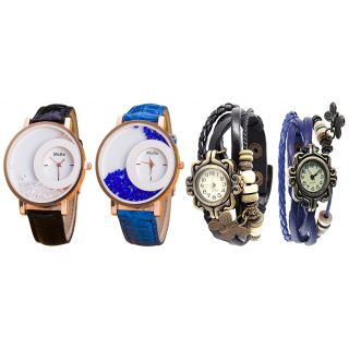 Special Combo of Diffrerent Color Pack of 2 Maxre And Pack of 2 Vintage Watch For Women