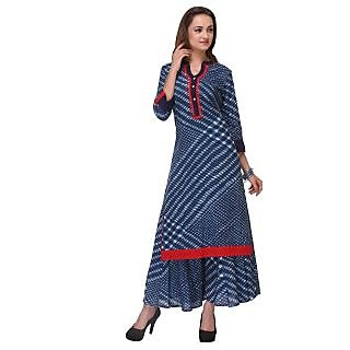 Varanga Blue Printed Cotton Stitched Kurti