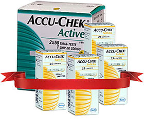 Accu Chek Active 100 Strips  4 Pack Of 25'S Lancets Combo