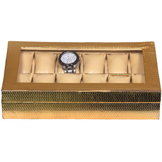 Leather World Classic Golden PU Leather Watch Box for 12 Watches