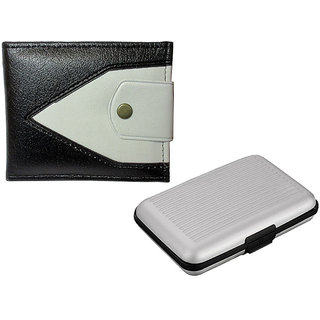 Apki Needs Dualcolored Brown Mens Wallet And Silver Card holder