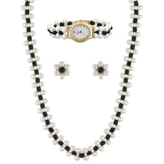 Nisa Pearls Combo Set of Necklace Set and Watch