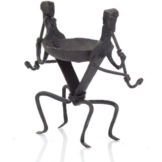 Agnihotra Creations Tribal Men Candle Stand Showpiece - 8.5 cm