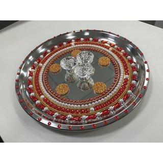 Pooja Decorative thali Red n Golden