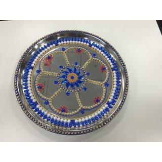 Pooja decorative thali blue