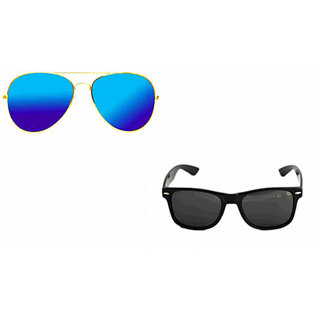 Combo Sunglass in Royal Mirror Aviator and wayfarer in Black