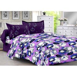 Valtellina Purple  Floral Design Super Soft Cotton Double Bedsheet with 2 CONTRAST Pillow Cover-Best TC-175