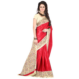 DesiButiks Red Crepe Printed Saree With Blouse