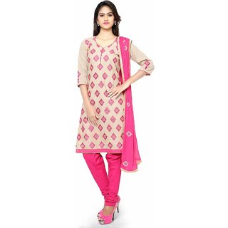 Swaron Beige and Pink Embroidered Cotton Unstitched Dress Material 423D6003