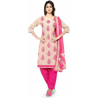 Swaron Beige and Pink Embroidered Cotton Unstitched Dress Material 423D6005