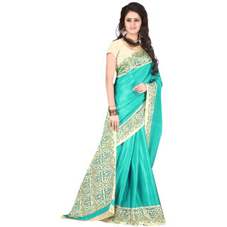 DesiButiks  Sea Green Crepe Saree with Blouse  VSM3416