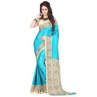 DesiButiks Sky Blue Crepe Printed Saree With Blouse