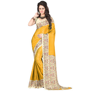 DesiButiks Yellow Crepe Printed Saree With Blouse
