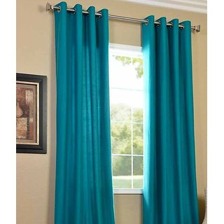 Panipat Textile Hub Aqua Plain Polyster Eyelet Window Curtains set of 2 Size 4x5 (PT2WC-329)