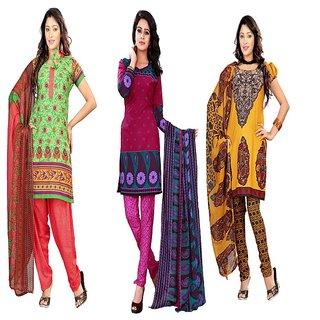 Aaina Pack of 3 Multicolor American Crepe Printed Dress Material (SB-Pack of 3 American Crepe-July16-3)