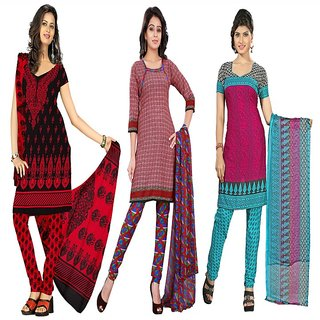 Aaina Pack of 3 Multicolor American Crepe Printed Dress Material (SB-Pack of 3 American Crepe-July16-6)