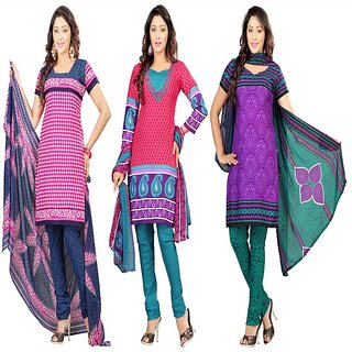 Aaina Pack of 3 Multicolor American Crepe Printed Dress Material (SB-Pack of 3 American Crepe-July16-7)