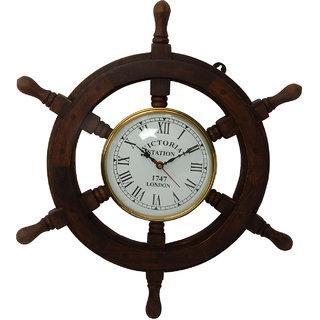 Wooden Ship Wheel Wall Clock Dcor