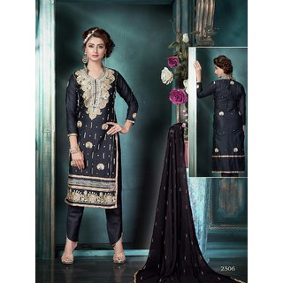 Trendz Apparels Black Glace Cotton Straight Fit Salwar Suit