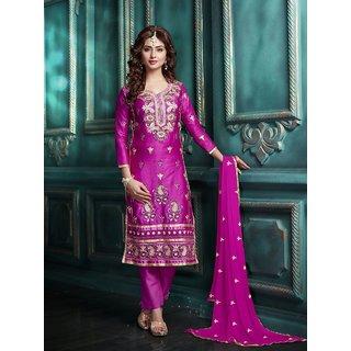 Trendz Apparels Purpal Glace Cotton Straight Fit Salwar Suit