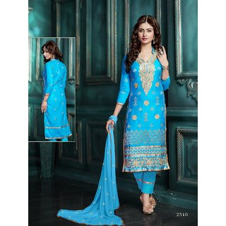 Trendz Apparels Blue Glace Cotton Straight Fit Salwar Suit