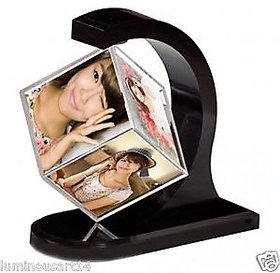 Atorakushon ROTATING PHOTO FRAME 360 DEGREE MAGICAL MAGNETIC FLOATING PHOTO CUBE HOME DECOR