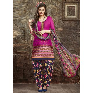Swaron Pink and Navy Blue Embroidered Glace Cotton Unstitched Dress Material 422D15002