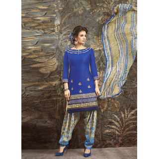 Swaron Blue and Beige Embroidered Glace Cotton Unstitched Dress Material 422D15003