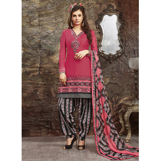Swaron Pink and Black Embroidered Glace Cotton Unstitched Dress Material 422D15008