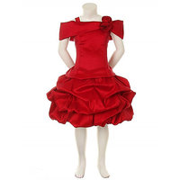 The Nightingales Knee Length Red Girls Party Wear Dress