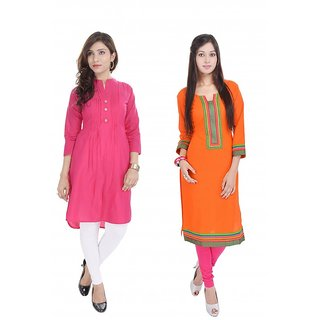 Desier Cotton Kurtis in Pack of Two 7153 (Combo Pack)