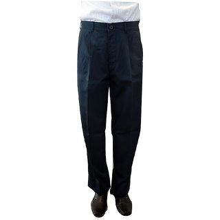 Color plus pleated cotton trouser - Size 32 (navy blue)
