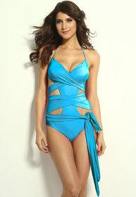 Aqua Blue Wrap-around One Piece Swimwear
