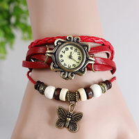Round Dial Red Leather Strap Womens Quartz Watch