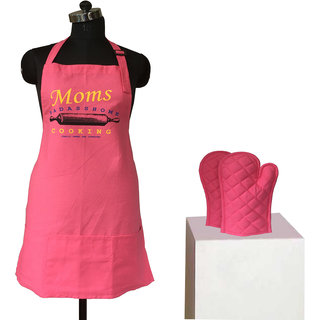 Lushomes Cotton Witty Pink Moms Cooking Apron Set (1 Apron  2 Oven Mittens)