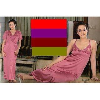 Shop Hot Night Wear Set 2pc Nighty   Over Coat Onion Colour Hil Sleep    Robe Sexy Gif Online - Shopclues 24274ad2b
